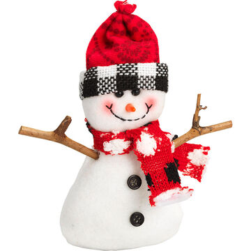 "Winter Wishes Black Tie Snowman Ornament - 5"" - Red Hat"