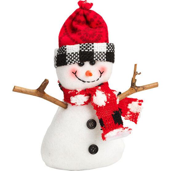 "Winter Wishes Black Tie Snowman Ornament - 5"" - Red Hat"