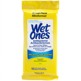 Wet Ones Antibacterial Wipes - Travel Pack - Citrus - 15's