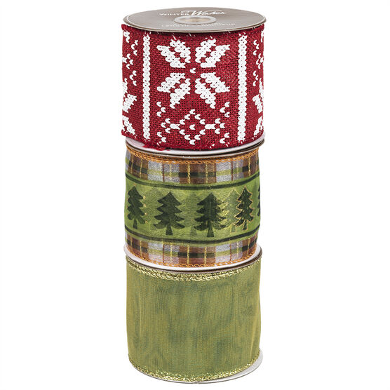Winter Wishes Lodge Ribbon - 15 Foot Roll - Assorted