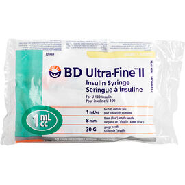 BD Ultra-Fine II Insulin Syringes - Short - 30 G x 8 mm 1cc - 10 single use syringes