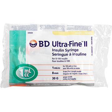 BD Ultra-Fine II Insulin Syringes - Short - 30 G x 8 mm 1cc - 10 single use syringes