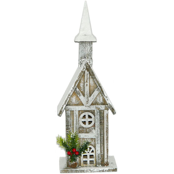 Christmas Forever Wooden House - 18in - Grey - XM-ZG1234