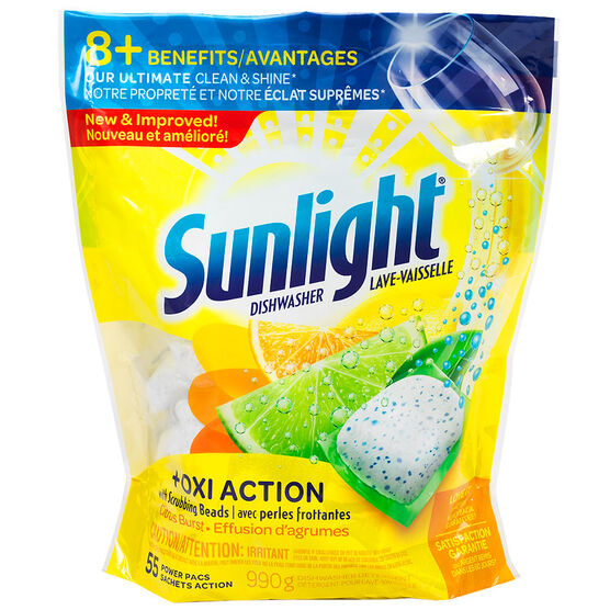 Sunlight Oxi Action Dishwasher Pacs - Citrus Burst - 55's