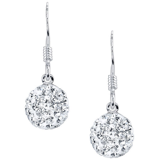 UNWRITTEN Sterling Silver 8mm Clear Pave Crystal Ball Earrings