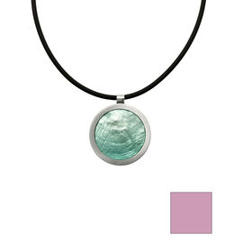 Merx Reversible Circle Resin Shell Necklace - Aqua/Mauve