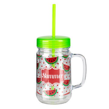 London Drugs Mason Jar Drinking Mug - Watermelon - 24oz
