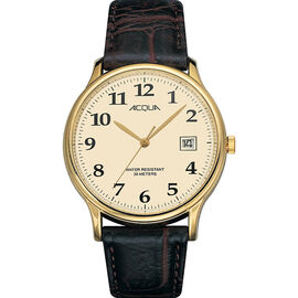 Timex Acqua Full Size Leather Watch - Black/Gold