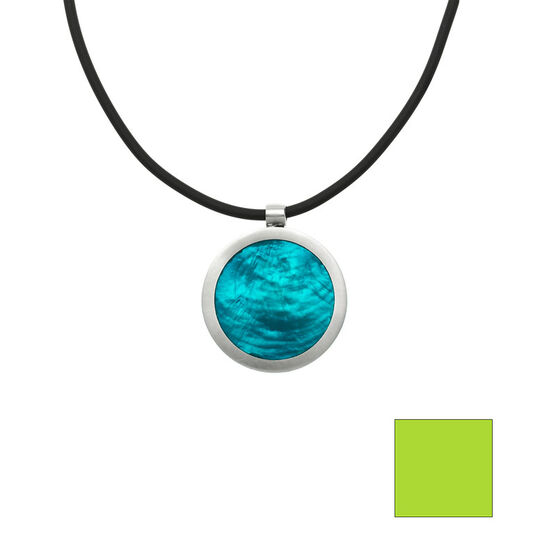 Merx Reversible Circle Resin Shell Necklace - Turquoise/Lime