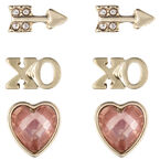 Lonna & Lilly Heart Trio Earrings - Peach