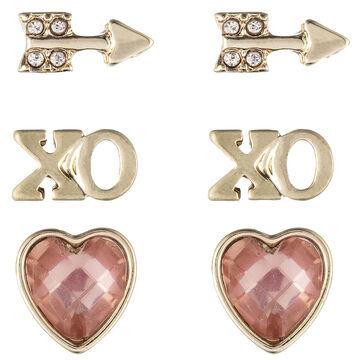 Lonna & Lilly Heart Trio Earrings - Peach