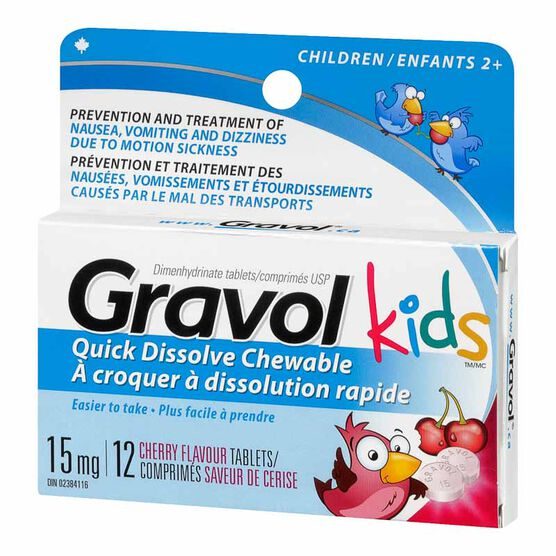 Gravol Chewable Tablets 15mg - 12's