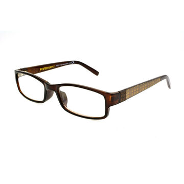 Foster Grant Derick Reading Glasses with Case - Brown/Gold - 3.25