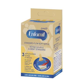 Enfamil Standard-Flow Soft Nipples and Rings - 3 pack