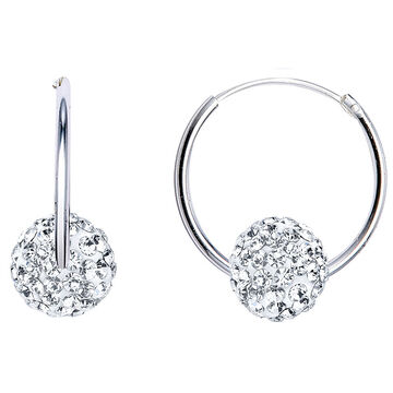 UNWRITTEN Sterling Silver 7mm Round Crystal Hoop Earrings