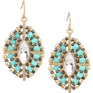 Haskell Beaded Crystal Earrings - Turquoise/Gold