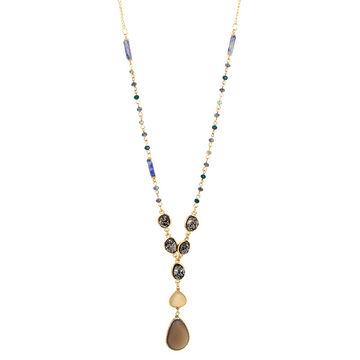 Haskell Beaded Pendant Necklace - Green/Gold