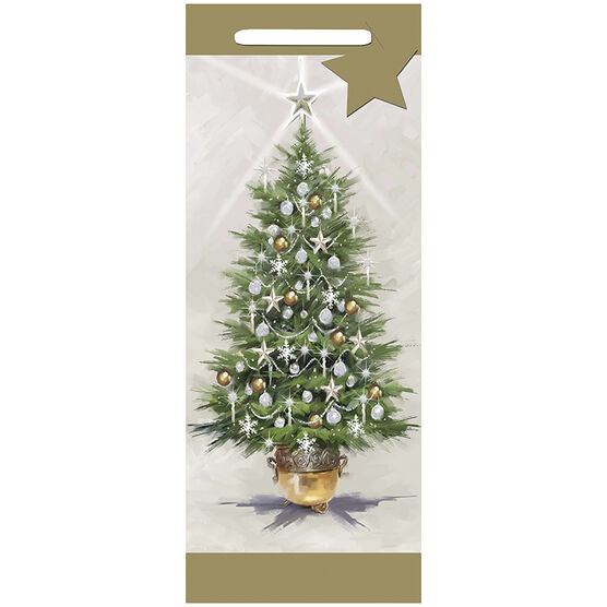 Gold Christmas Tree Gift Bag