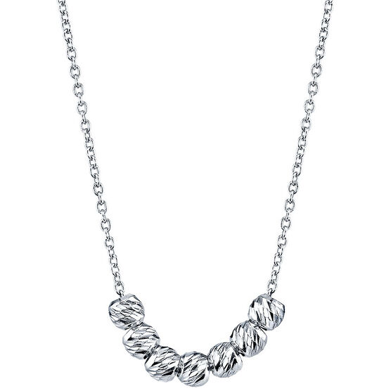 UNWRITTEN Sterling Silver 3mm Diamond-Cut Beaded Necklace