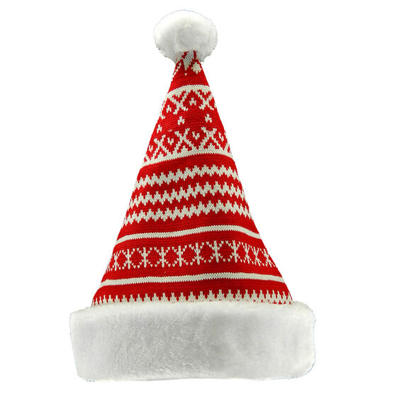 Christmas Forever Santa Hat with Snowflake Pattern - 15in - Red - XM-UH2380