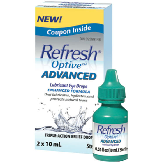 Refresh Optive Advanced Lubricant Eye Drops - 2 X 10ml