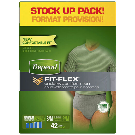 Depend Fit-Flex Underwear for Men Maximum Absorbency - Small/Medium - 42's