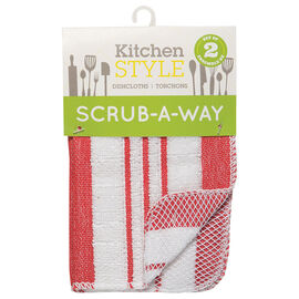 Kitchen Style Scrub-A-Way Dishcloths - Red - 2 pack
