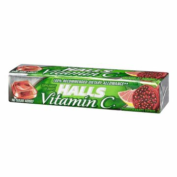 Halls Vitamin C No Sugar Added - Pomegranate Citrus - 9 drops