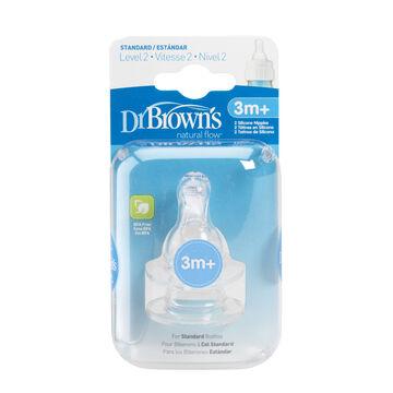 Dr Brown's Natural Flow Nipples Level 2 - 2 pack