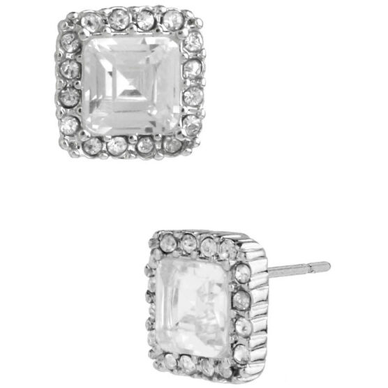 Betsey Johnson Square Stud Earrings - Crystal