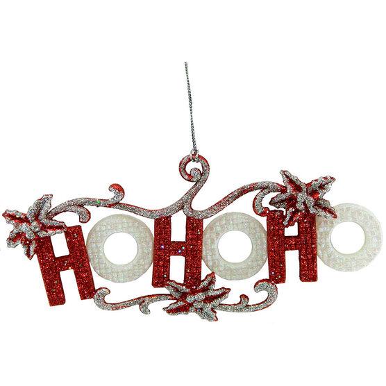 Christmas Forever Ho Ho Ho Sign Ornament - 8in - Red/White - XM-MR1303