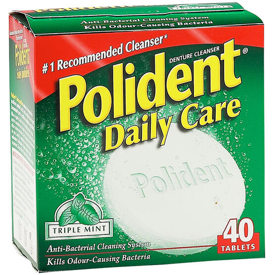 Polident Daily Care Denture Cleanser - Triple Mint - 40 tablets