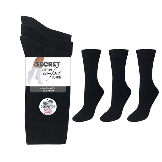 Secret Cotton Comfort Fashion Socks Crew Socks - Black - 3 pair