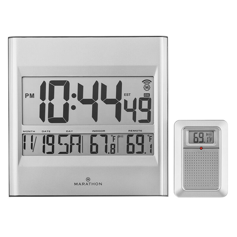 marathon atomic wall clock grey cl030027gg