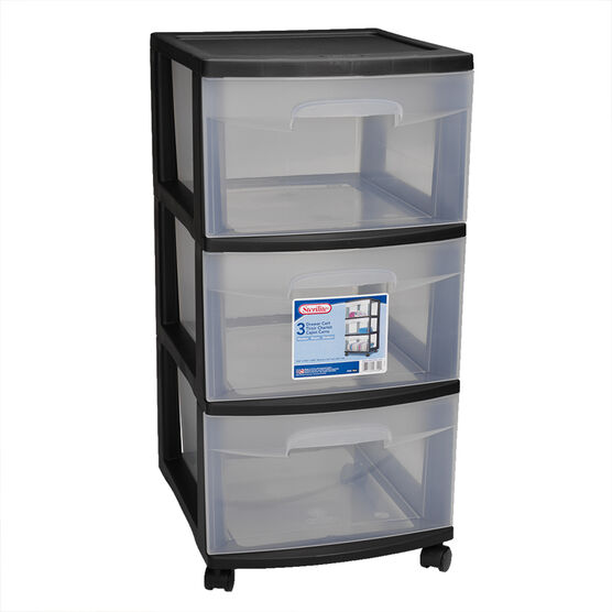Sterilite 3 Drawer Cart - Black