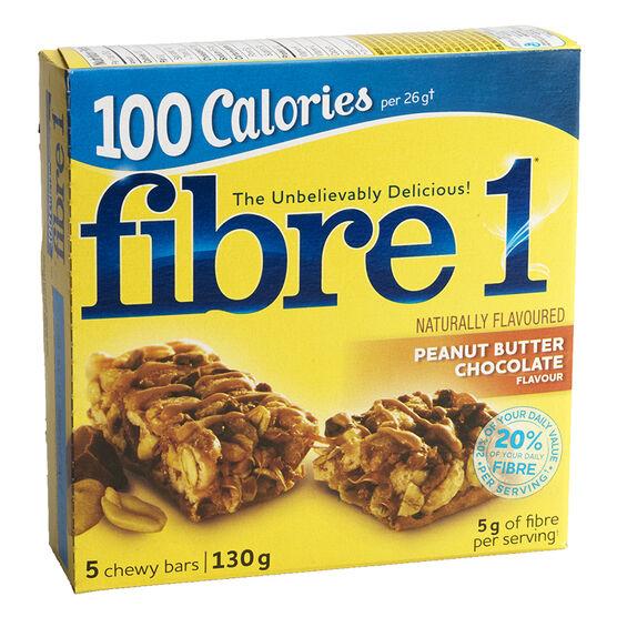 Fibre 1 100 Calories Peanut Butter Chocolate Bars - 5 pack / 130g
