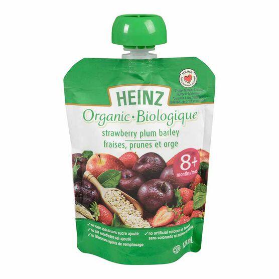 Heinz Organic Baby Food Pouch - Strawberry/Plum/Barley - 128ml