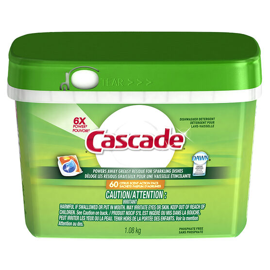 Cascade Power Pacs Dishwasher Detergent - Citrus - 60's