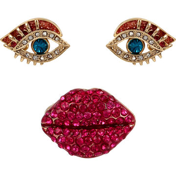 Betsey Johnson Lip Ring and Eye Earrings Set - Multi/Gold