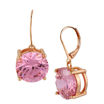 Betsey Johnson Drop Crystal Earrings - Pink