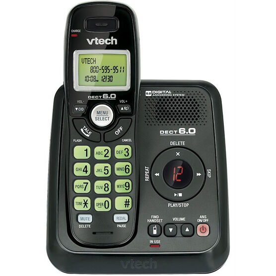 VTech 1-Handset Cordless Phone with Answering System - Black - CS612411BK