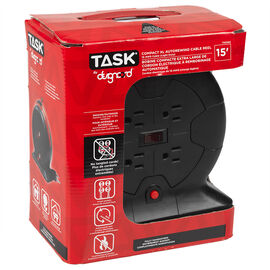 Task Auto Rewind Cable Reel - 15ft. - T43103