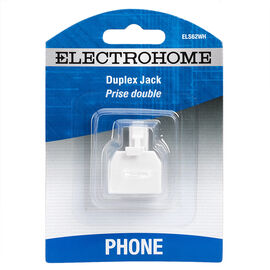 Electrohome Telephone Duplex Jack Adaptor - White - ELS62WH