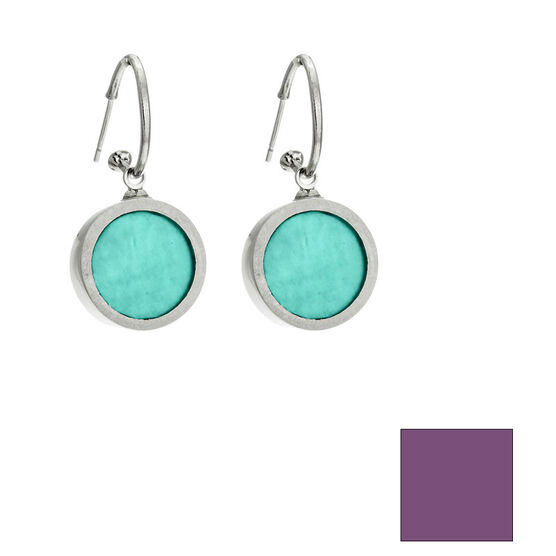 Merx Reversible Circle Resin Shell Drop Earrings - Aqua/Mauve
