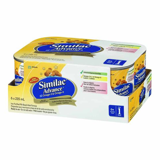 Similac Advance Ready to Feed Formula with Omega 3 & 6 - 6 x 235ml