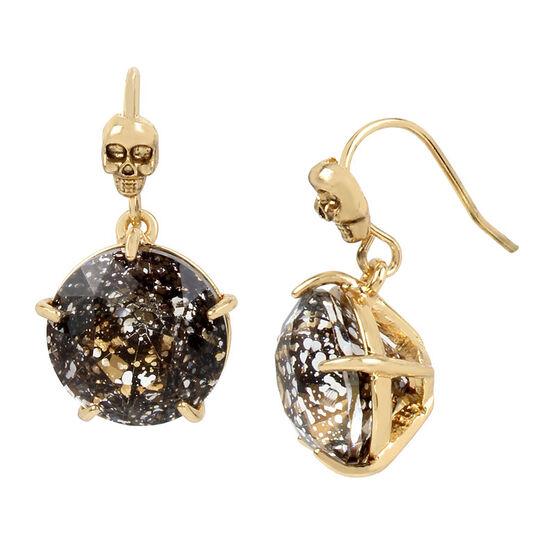Betsey Johnson Dark Black Skull Drop Earrings - Black/Gold