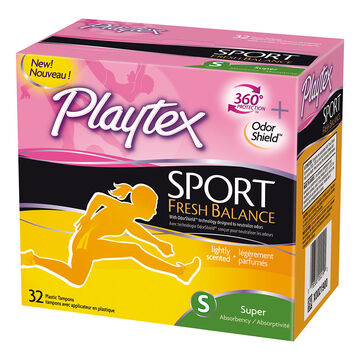 Playtex Sport Fresh Balance Tampons - Super - 32's