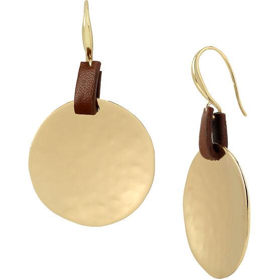 Robert Lee Morris Leather Disc Drop Earring - Brown/Gold