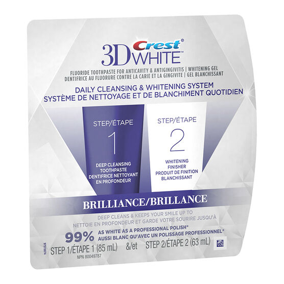 Crest 3D White Brilliance 2 Step Toothpaste & Whitening Finisher - 148ml