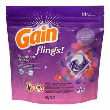 Gain Flings 3-in-1 Detergent - Moonlight Breeze - 14 pacs